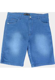 Bermuda Preston Plus Size Estonada Masculina - Masculino-Azul Claro