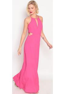 Vestido Longo Com Recortes- Pink- Forumforum