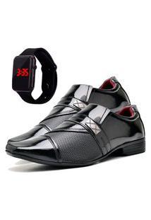 Sapato Social Glamour Com Relógio Led Dubuy 816Od Preto