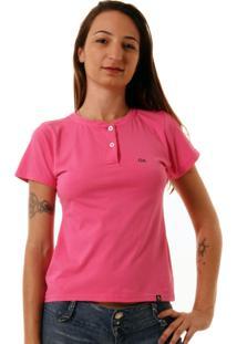 Camiseta Feminina Oitavo Ato Henley Pink