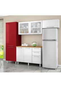 Cozinha Compacta Play Ii 7 Pt 3 Gv Branca E Vermelha