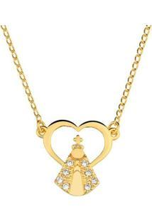Colar Toque De Joia Coração De Nossa Senhora E Zircônias Ouro Amarelo - Feminino-Dourado
