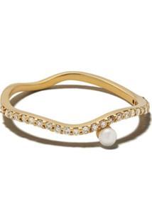 Ileana Makri Anel De Ouro 18Kt Com Diamantes E Pérola - Yellow / White