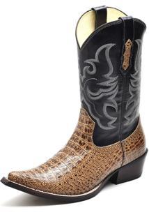 Bota Texana Em Couro Cano Alto Bico Fino Confort Gaspariano Calçados Marrom
