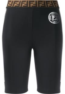 Fendi Logo Tape Cycling Shorts - Preto