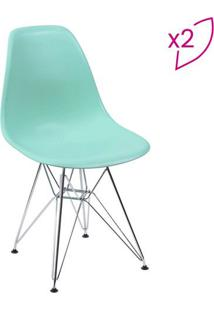 Jogo De Cadeiras Eames Dkr- Verde ÁGua & Prateado- 2Or Design