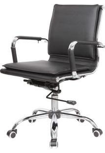 Cadeira Escritorio Eames Top Baixa Preta Base Cromada - 41002 - Sun House