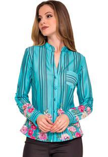 Camisete Rosa K Floral Azul