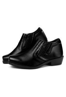 Sapato Social Masculino Com Zíper Sapatofran Confortável Preta