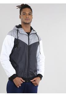 Jaqueta Masculina Esportiva Ace Com Capuz E Recortes Chumbo