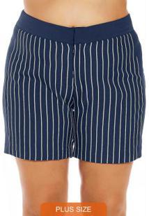 Short Plus Size Feminino Azul