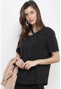Camiseta Forum Lurex Feminina - Feminino-Preto
