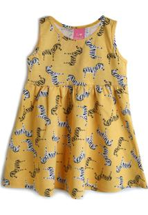 Vestido Kamylus Animal Print Amarelo