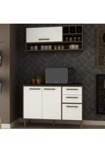 Cozinha Compacta 2 Peças 3 Portas Vitória Siena Móveis Avelã Tx/Branco