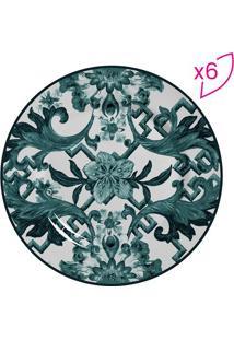 Conjunto De Pratos Para Sobremesa Floral & Geométrica- Bscalla Cerâmica