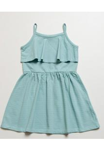 Vestido Infantil Textura Babado Alças Finas Marisa