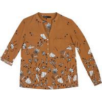 c49027fed Camisa Manga Longa Feminina Em Tecido De Viscose Com Estampa
