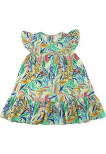 Vestido Infantil Tricoline Estampa Digital Folhas Coloridas - Verde 1