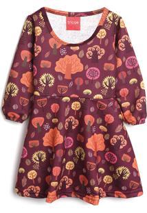 Vestido Tricae Infantil Árvores Vinho/Laranja