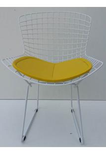 Cadeira Bertoia Pintada Branco Assento Amarelo - 22066 - Sun House