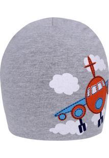 Gorro Bebê Avião - Boneleska Cinza