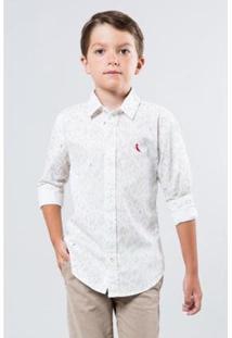 Camisa Mini Pf Folhagem Bicolor Infantil Reserva Mini Masculina - Masculino-Branco