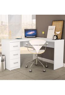 Mesa Para Escritório Fênix 3 Gavetas Branco Politorno