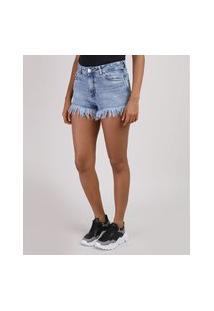 Short Jeans Feminino Cintura Alta Barra Desfiada Azul Médio
