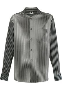 Comme Des Garçons Homme Plus Camisa Listrada Com Capuz - Preto