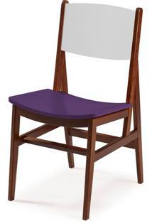 Cadeira Dumon Cor Cacau / Branco Com Roxo - 30802 Sun House