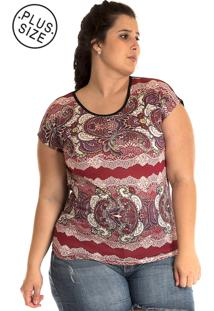 Blusa Konciny Plus Size Estampada Colorida Rosa