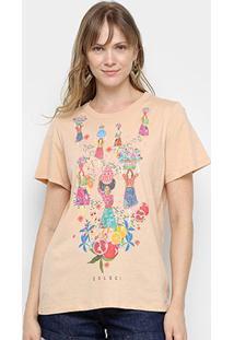 Camiseta Colcci Tropical Feminina - Feminino-Bege