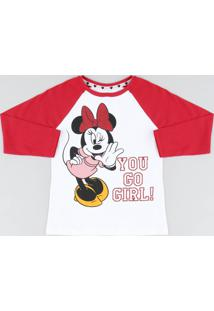 Blusa Infantil Minnie Raglan Manga Longa Decote Redondo Branca