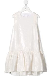Il Gufo Vestido Sem Mangas Com Babados - Branco