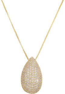 Colar Gota M Dourada Cravejada De Zironias - Tricae