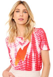 Camiseta Cantão Raio Tie Dye Pink/Branca