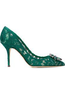Dolce & Gabbana Sapato De Couro Com Renda - Green