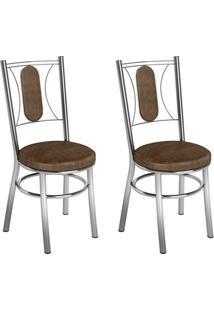 Conjunto 2 Cadeiras Ca-990 Cromada Tabaco Quadriculado Assento Alto