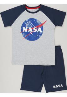 Pijama Infantil Espacial Manga Curta Cinza Mescla