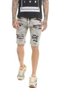 Bermuda Jeans Destroyed Slim Fit Com Lycra Masculina - Masculino-Cinza