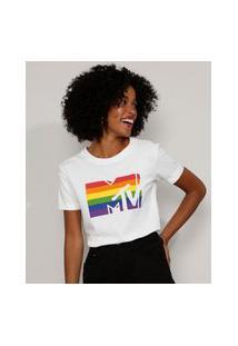 Camiseta Feminina Pride Mtv Manga Curta Decote Redondo Off White