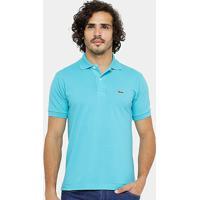 b48190aa70787 Camisa Polo Lacoste Piquet Original Fit Masculina - Masculino-Azul Turquesa