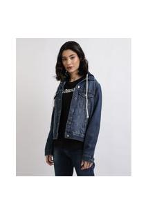 Jaqueta Jeans Feminina Com Capuz Removível Em Moletom Azul Médio