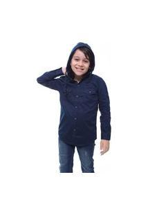 Camisa Juvenil Masculina Manga Longa Azul Marinho