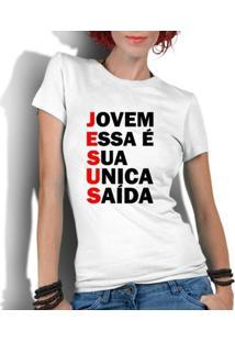 Camiseta Criativa Urbana Gospel Evangélica Religiosa Saída - Feminino-Branco