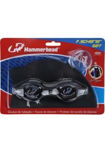 Kit De Natação Hammerhead F. Scherer Set Com Óculos, Touca E Protetor De Ouvido - Adulto - Cinza Escuro