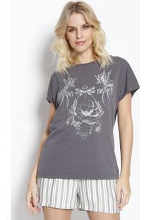 Camiseta Floral - Preta & Branca - Colccicolcci