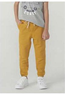 Calça Menino Em Malha De Algodão E Elastano Jogger Cós Elástico Amarelo
