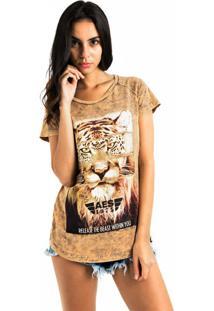 Camiseta Aes 1975 Animals - Bege/Marrom - Feminino - Dafiti