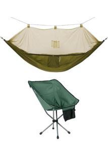 Kit Rede Com Mosquiteiro Amazon Guepardo + Cadeira Dobrável Para Camping Joy - Unissex
